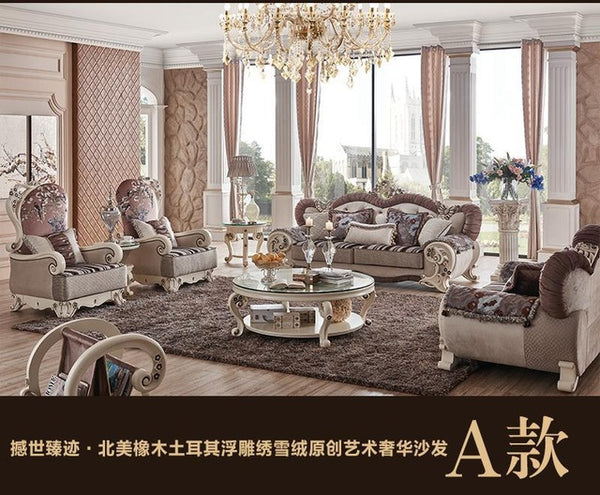 Modern Sectional Sofa Living Room Furniture Fabric Sofa 1+2+3+center table+3 corner table+leisure table PRF5003