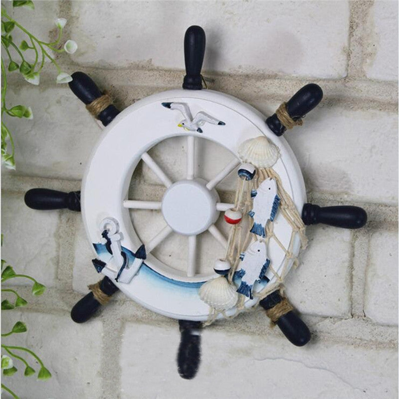 Wooden Beach Boat Ship Steering Wheel Fishing Net Home Wall Decor