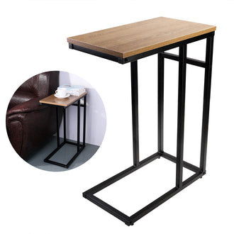 OULII Wood Look Finish Chrome Snack Side End Table Sofa Bed Side Magazine End Table