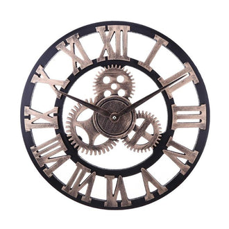 European Style Vintage Round Wooden Wall Clock