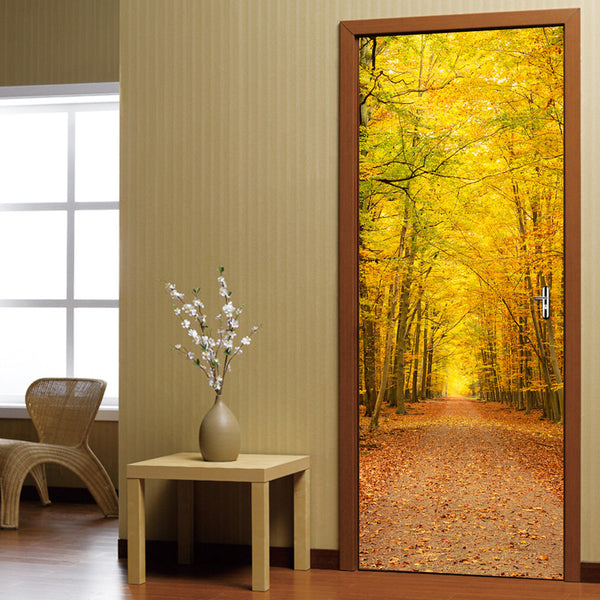 Waterproof 3D Mural PVC Door Stickers