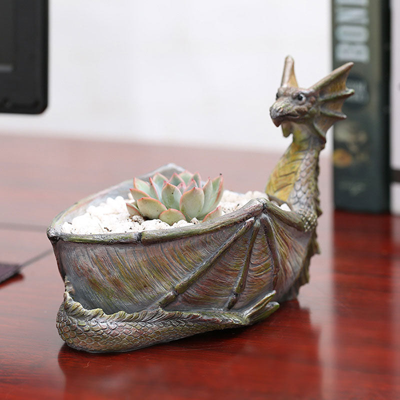 Vintage Resin Charizard Flower Pot Planter Succulent Plant