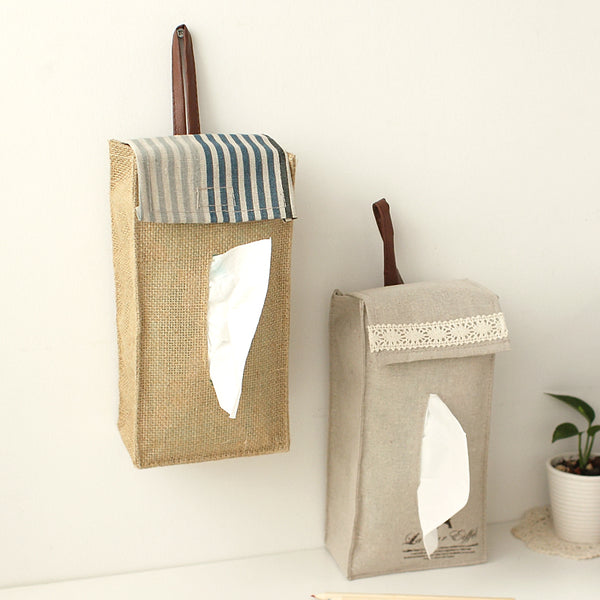 Hangable Linen Fabric Tissue Paper Napkins Cover Holder