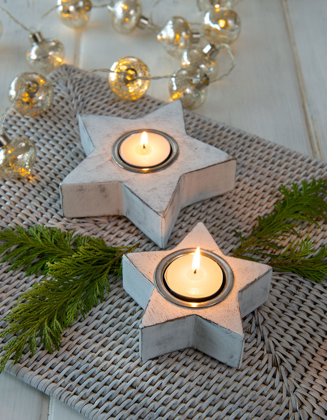 Set of 2 Star tealight holders - White or Grey