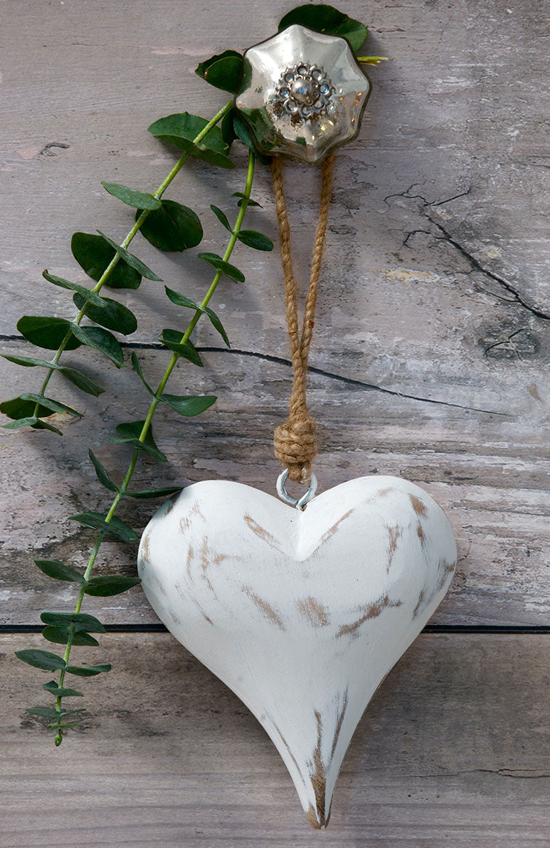 Vintage White or Grey Heart