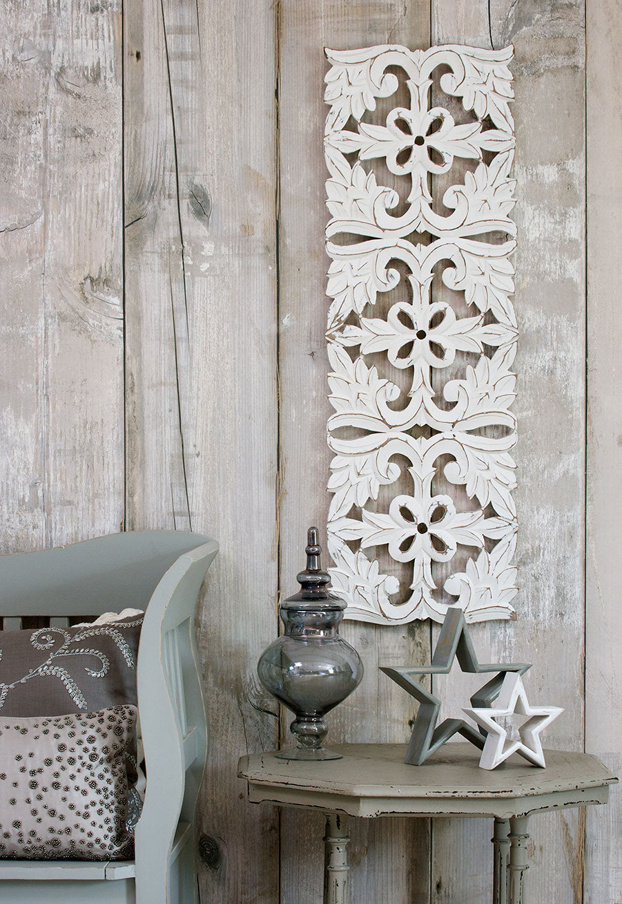 Long white carved panel