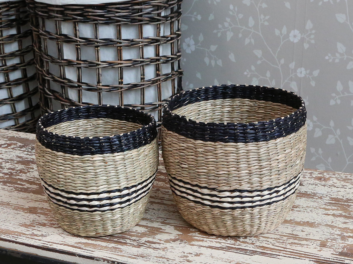 Set of 2 Natural & Stripe baskets