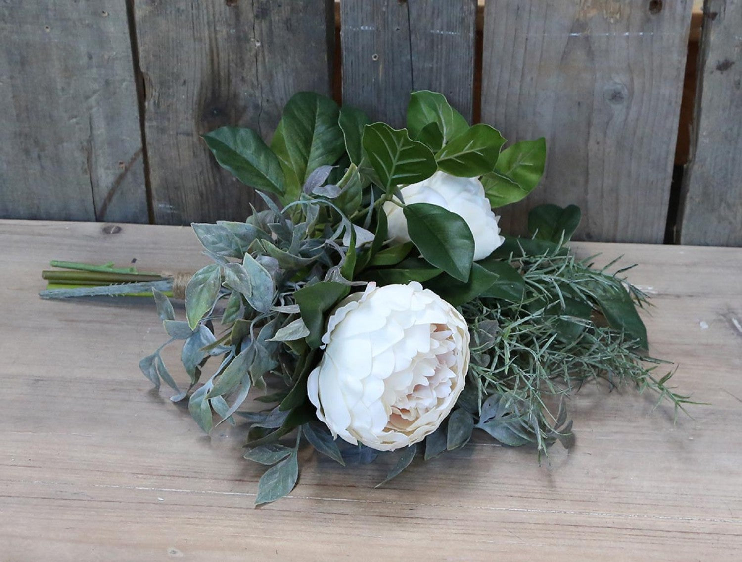 Artificial peony & greenery bouquet