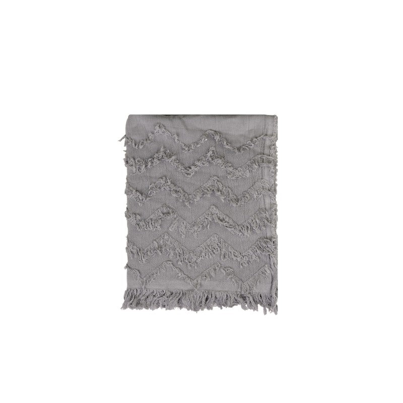 Grey Fringed Throw