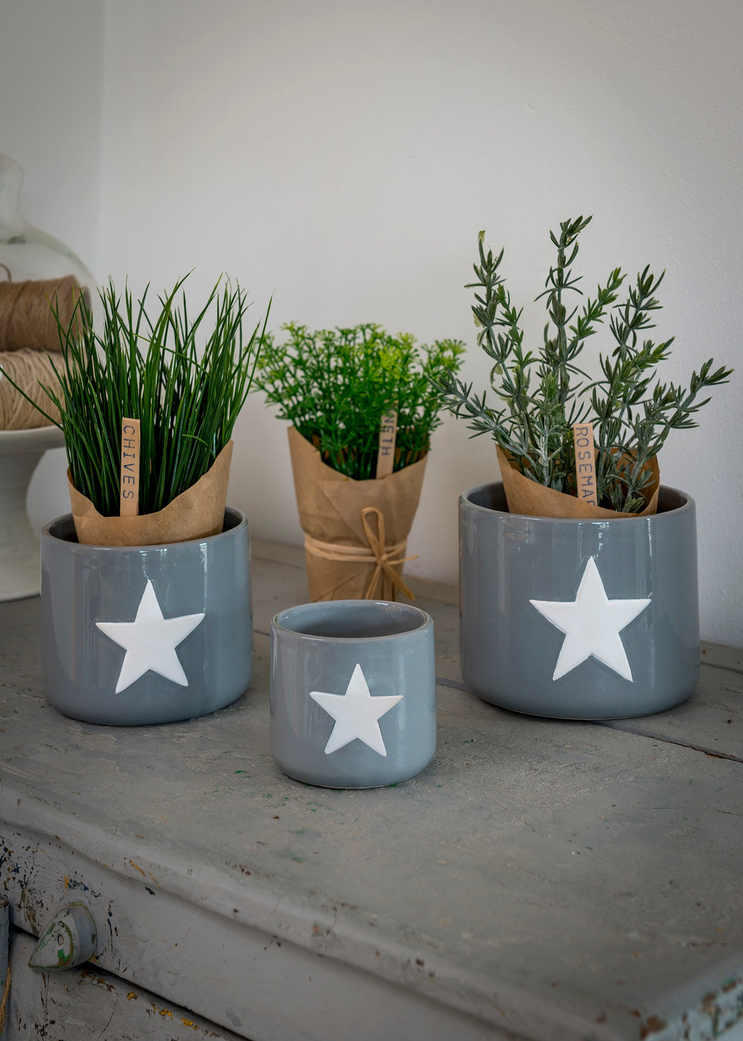 Set of 3 Grey & White star pots