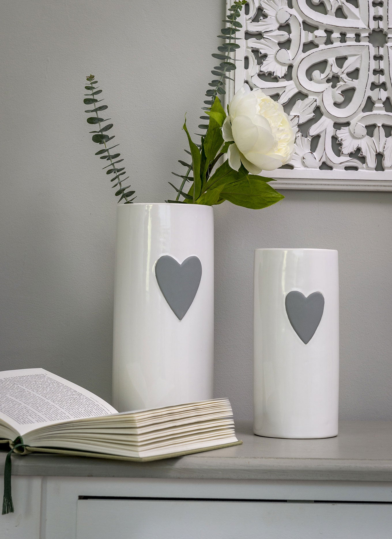White & Grey Heart Vase - Small only