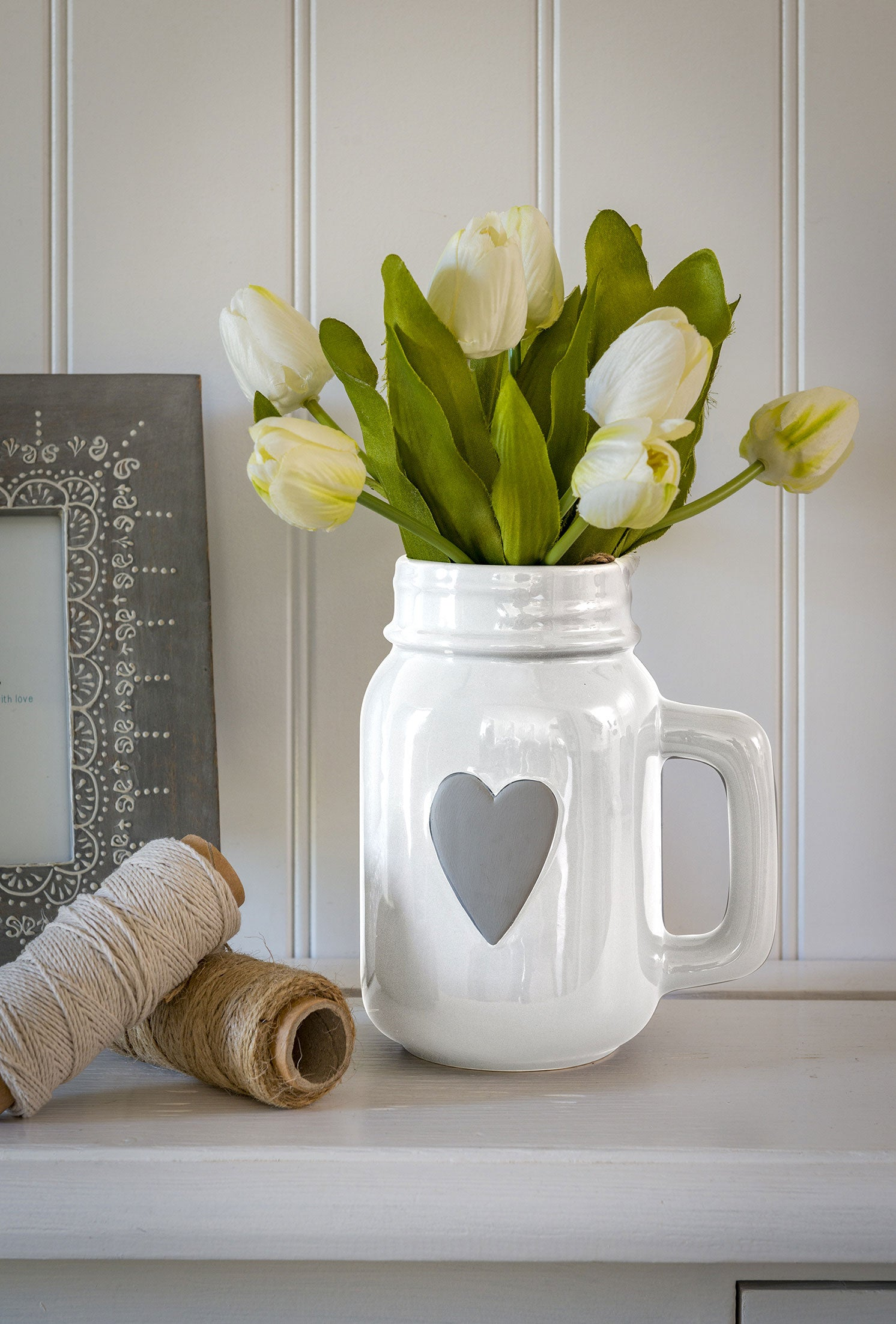 Grey or White Heart Jug with handle - 2 colours