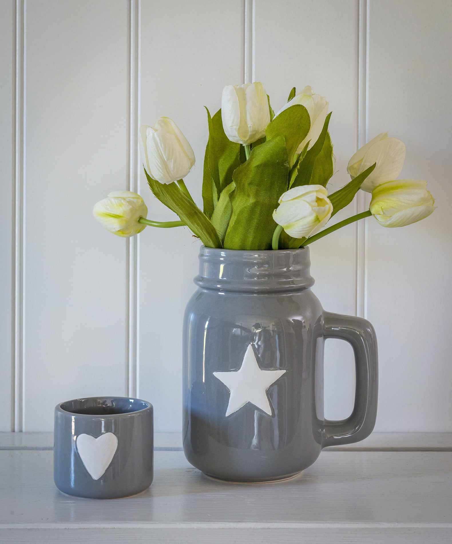 Grey or White Star Jug with handle - 2 colours