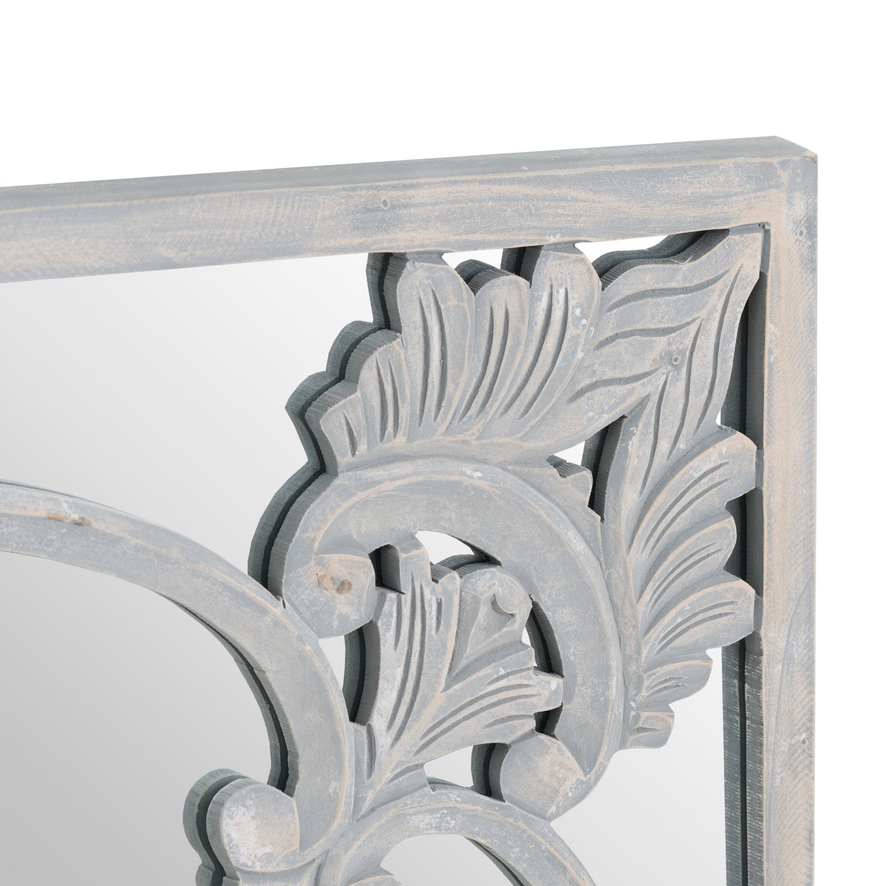 Elaborate Hand Carved Grey Painted Mirror
