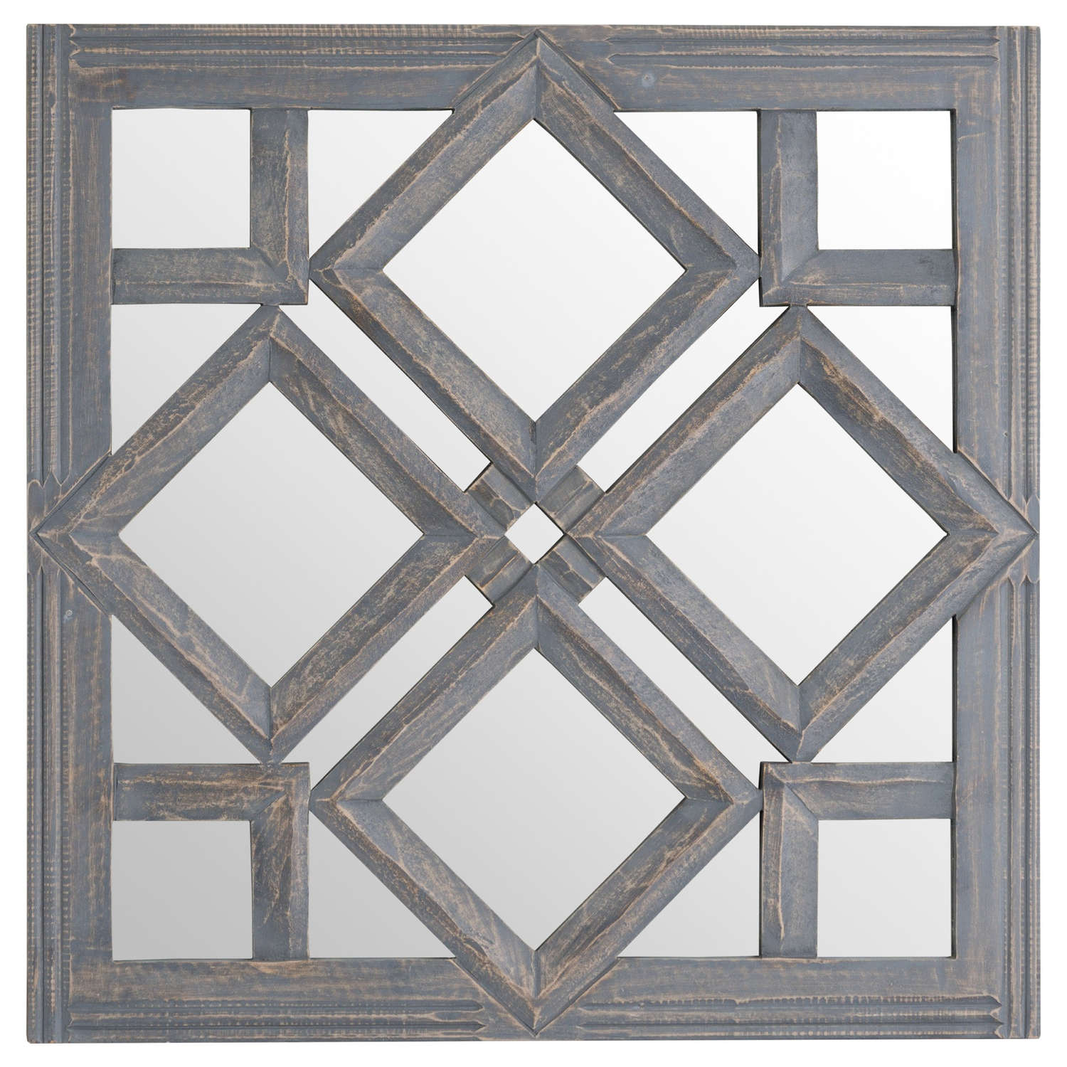 Grey Geometric Square Mirror