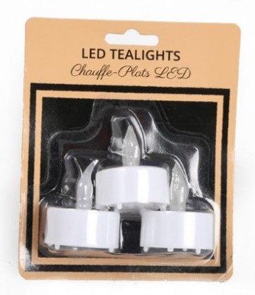 Pack of 3 LED Tealights - Battery operated