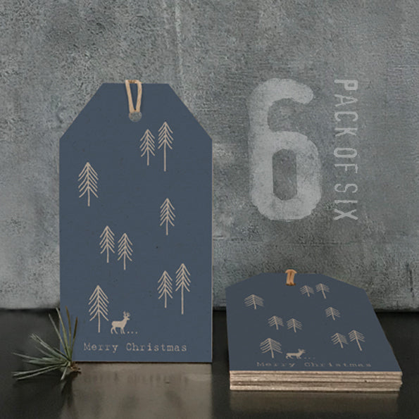 East of India Christmas Tags , Navy, Kraft & Cream