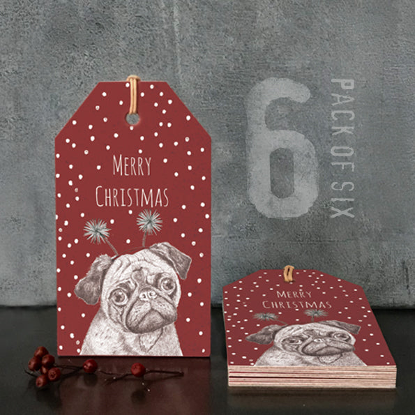 Pack of 6 Pug Gift Tags