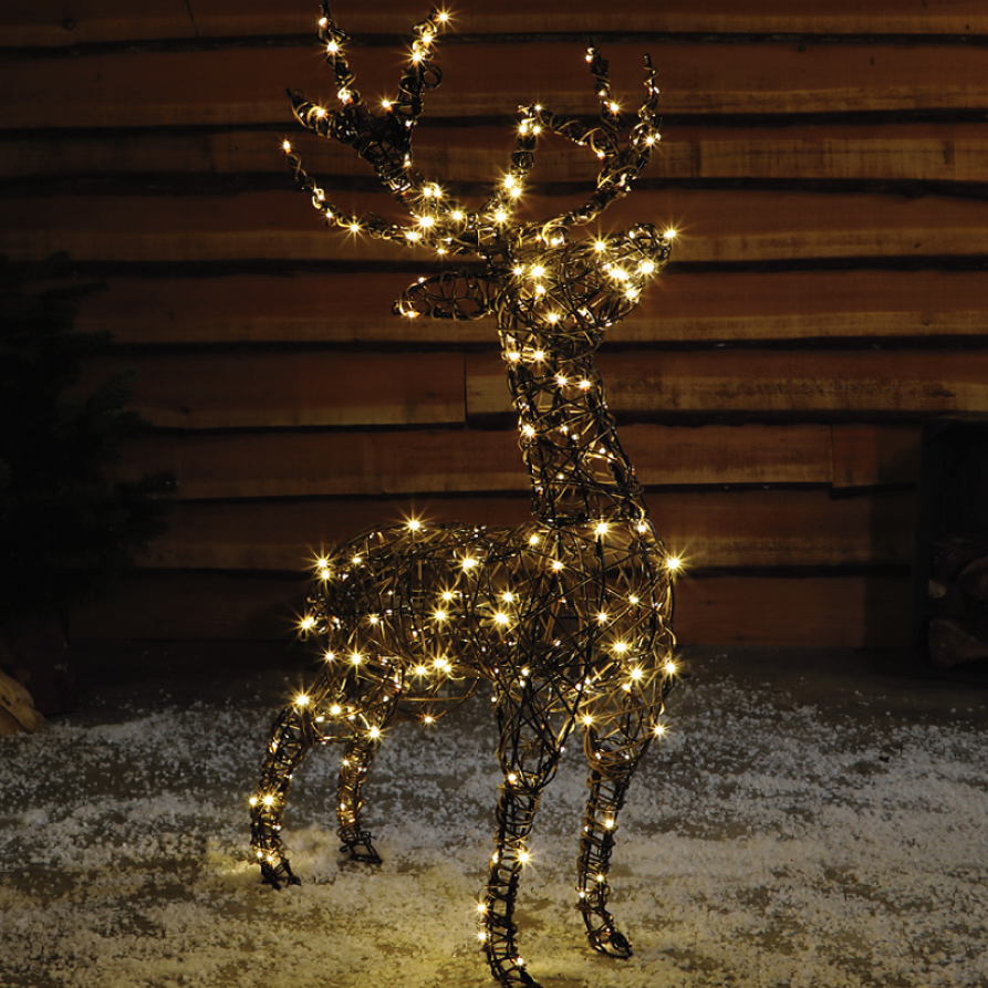 1.1M Standing wicker LED stag