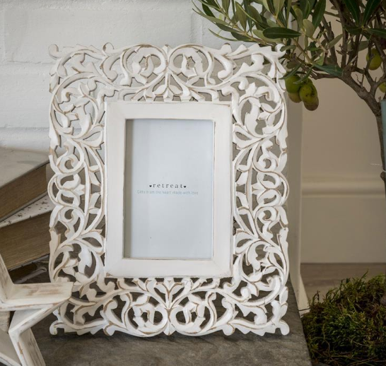 White ornate carved frame 6x4""