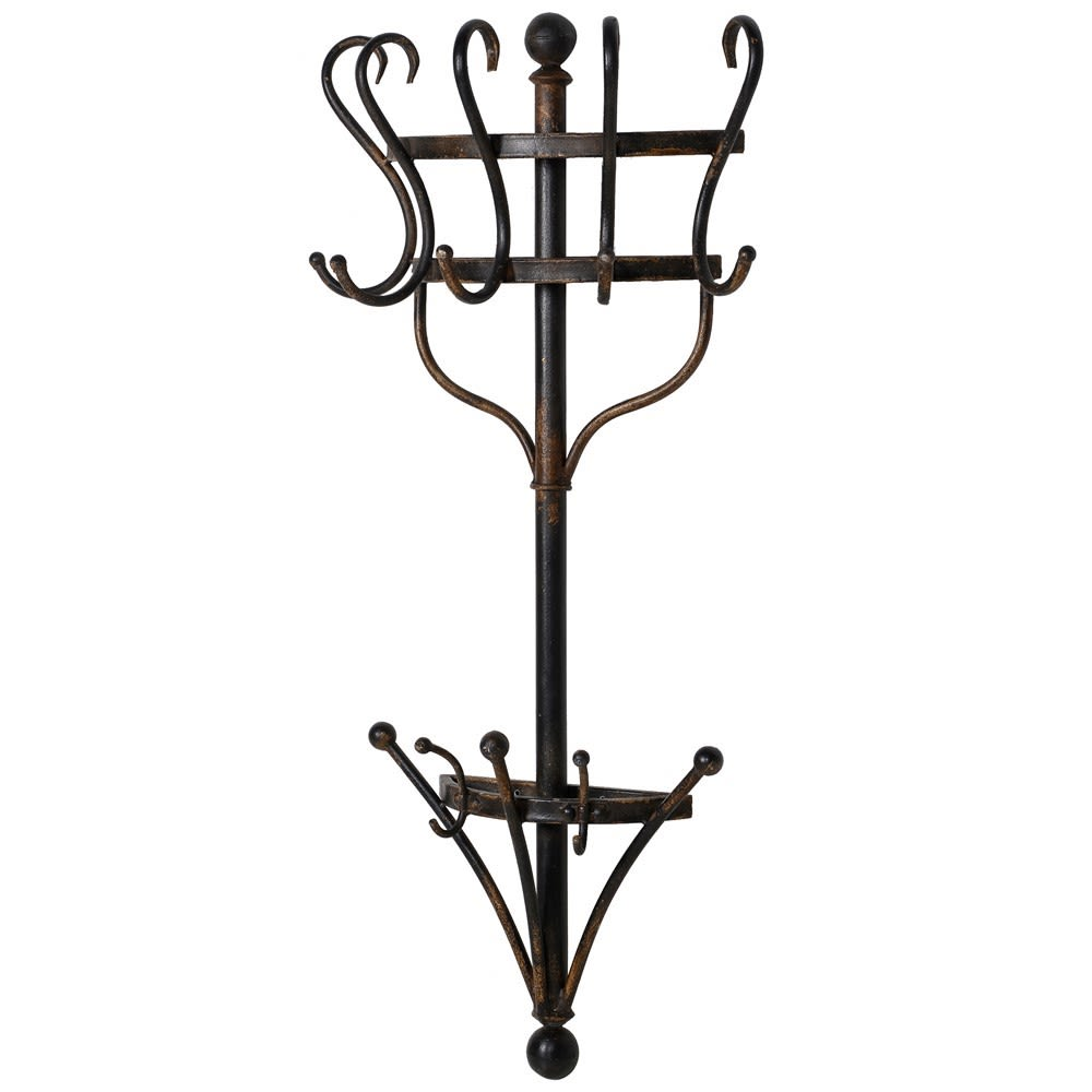 Distressed metal wall mounted coat rack