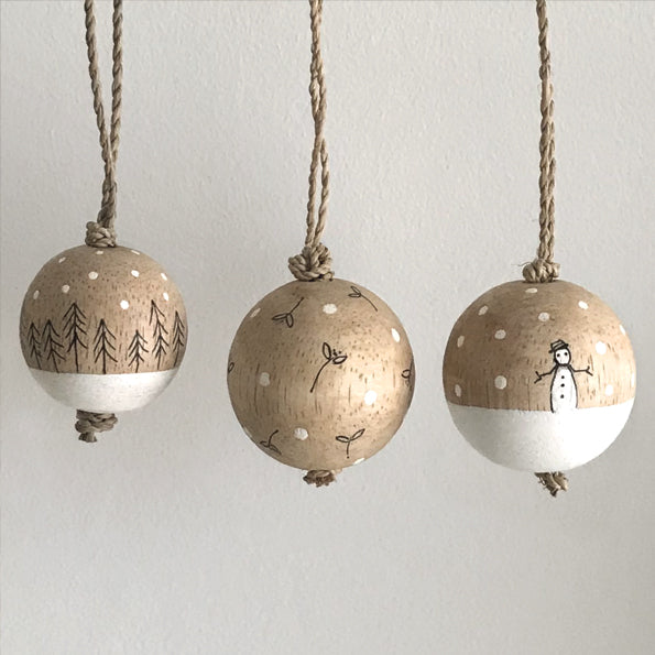 Handpainted wooden Baubles