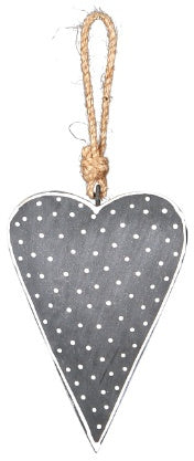 Hanging grey spotted heart