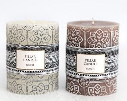 African inspired pillar candles
