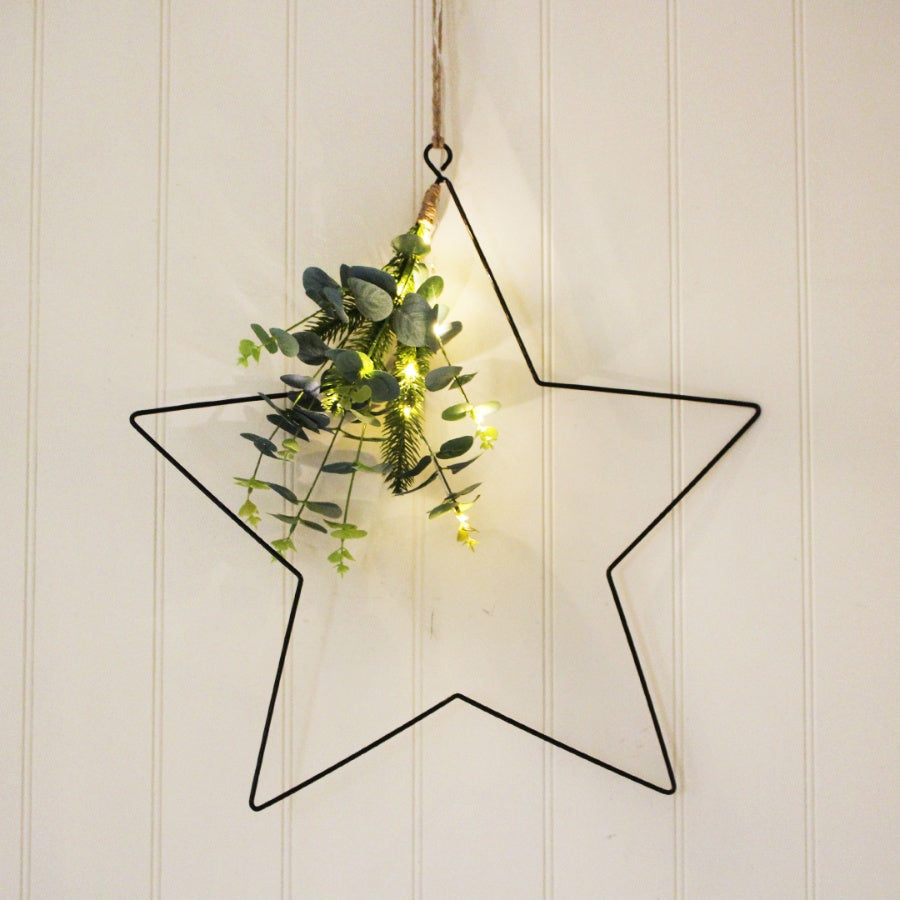 Black light up star with foliage - 2 sizes