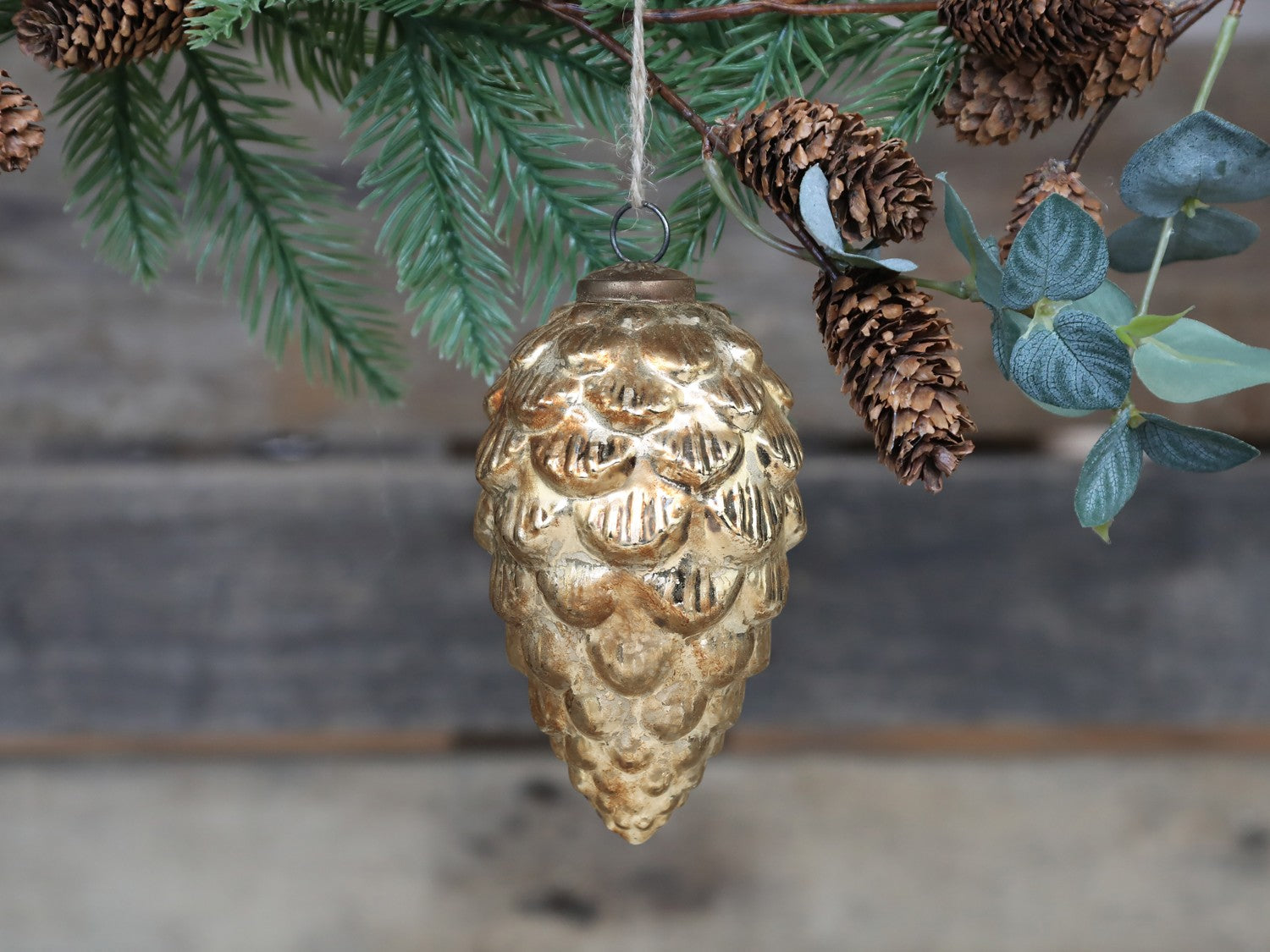 Antique Champagne Pine Cone Bauble