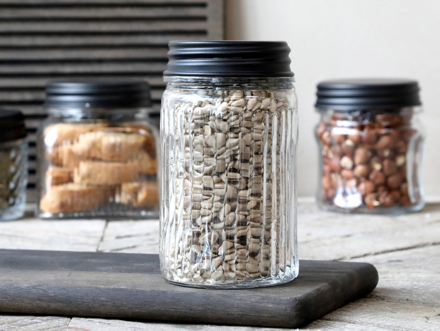 Taller Glass storage jar with lid