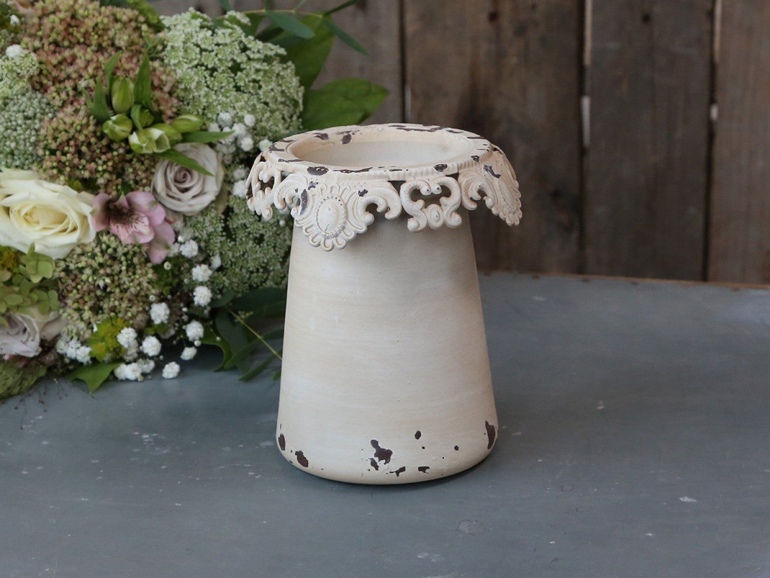 Antique cream Tin flower pot / vase with lace edge