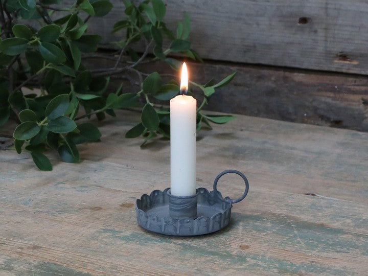 Antique grey candle holder