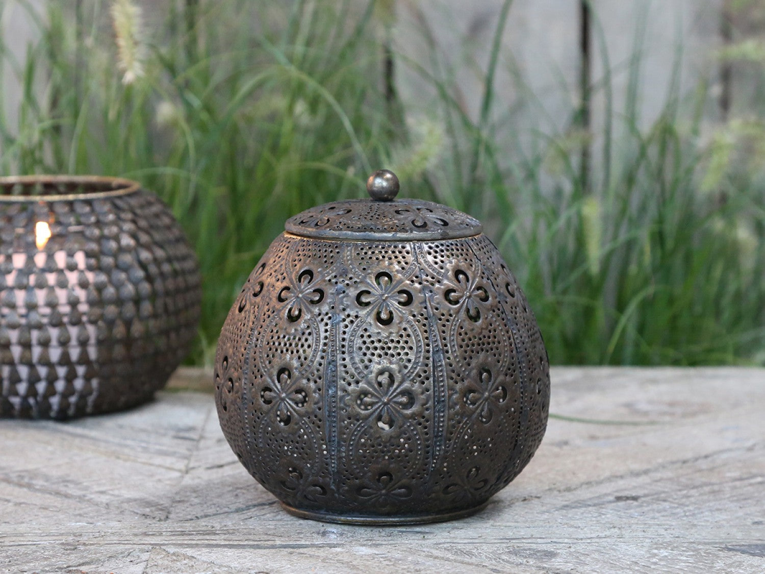 Dark antique brass pot with lid