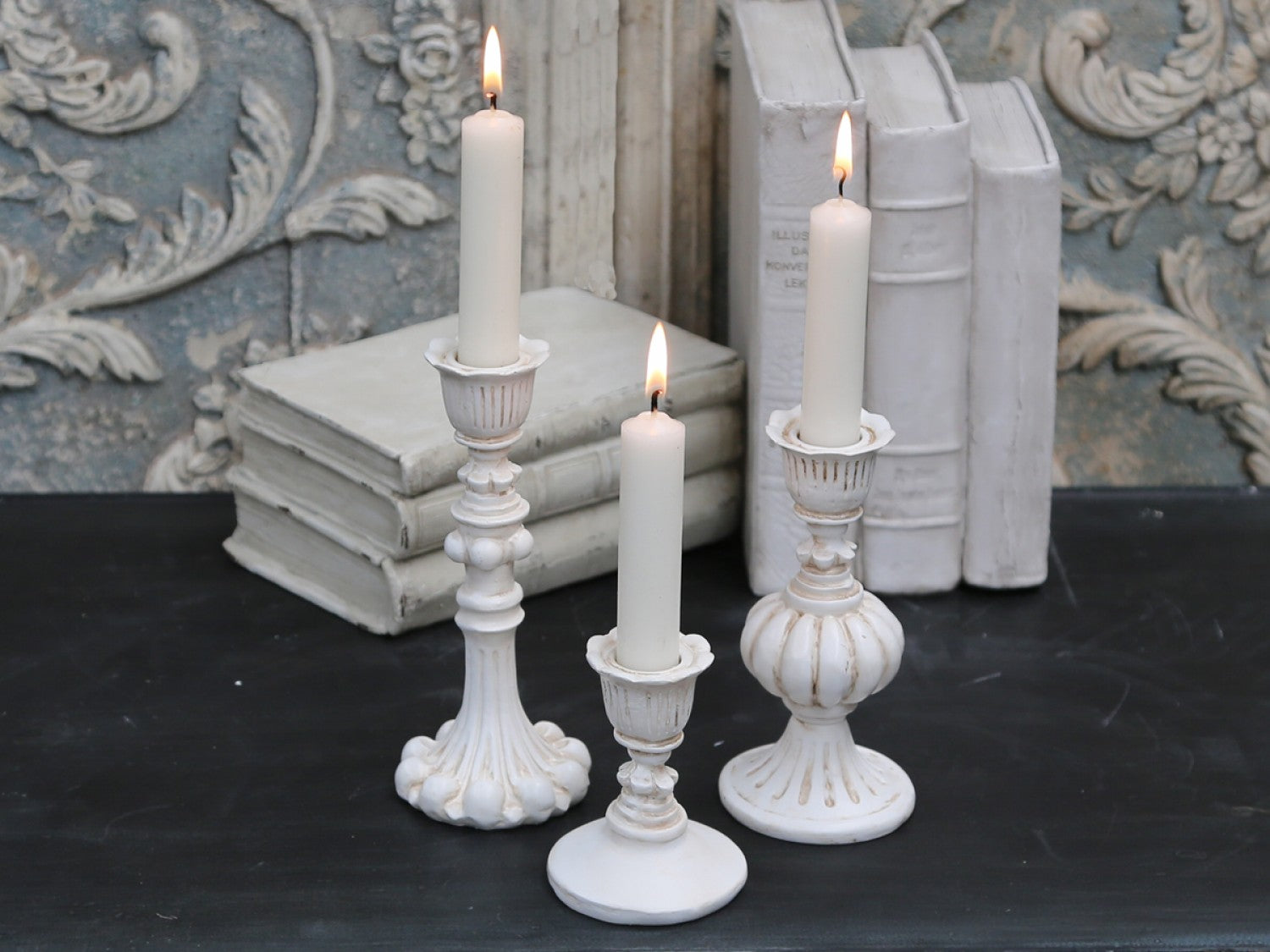 Vintage cream candle stick - 2 sizes