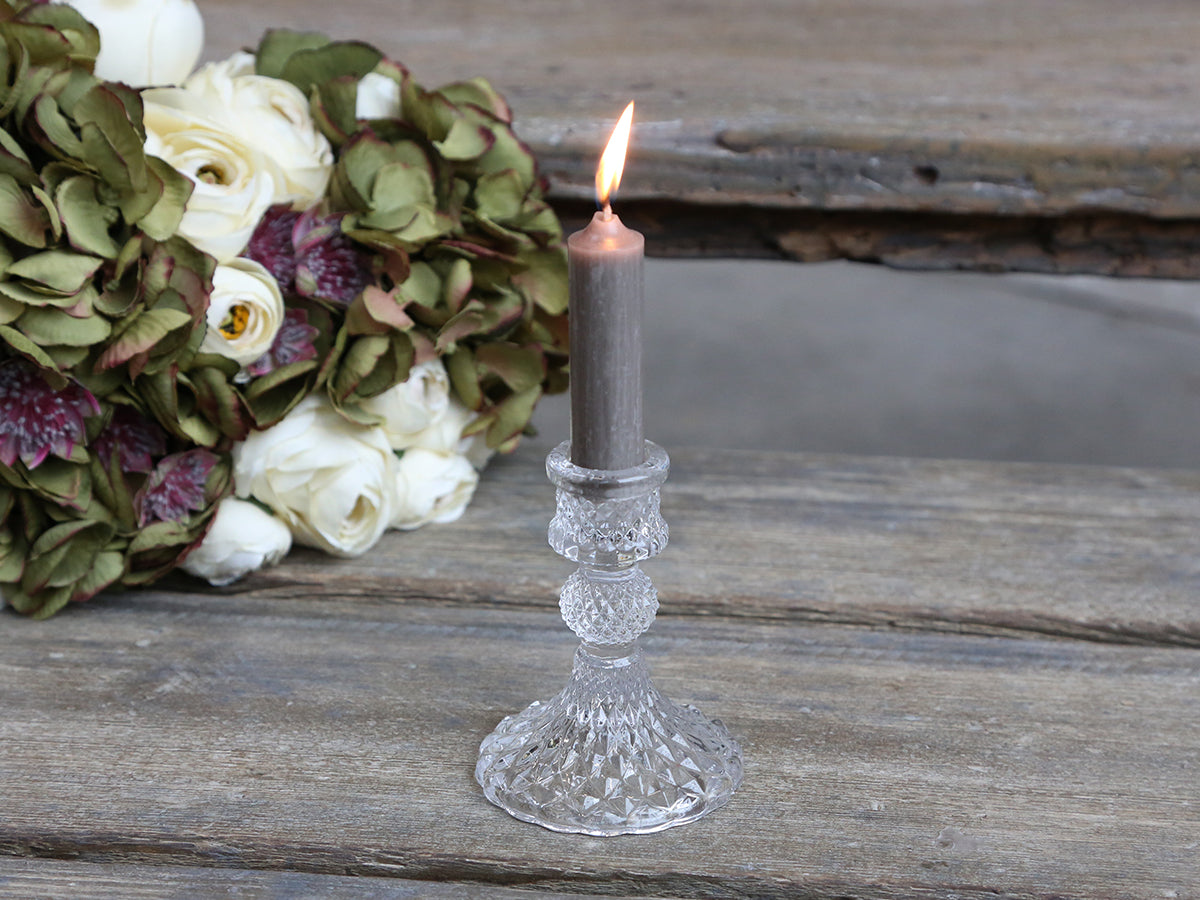 Cut glass small clear candle stick