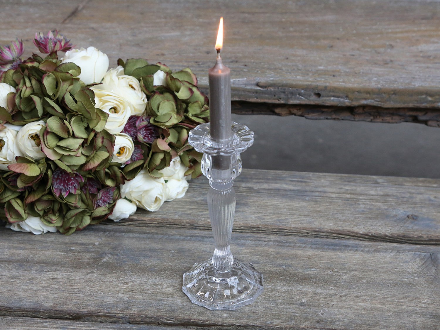 Clear glass tall candle stick