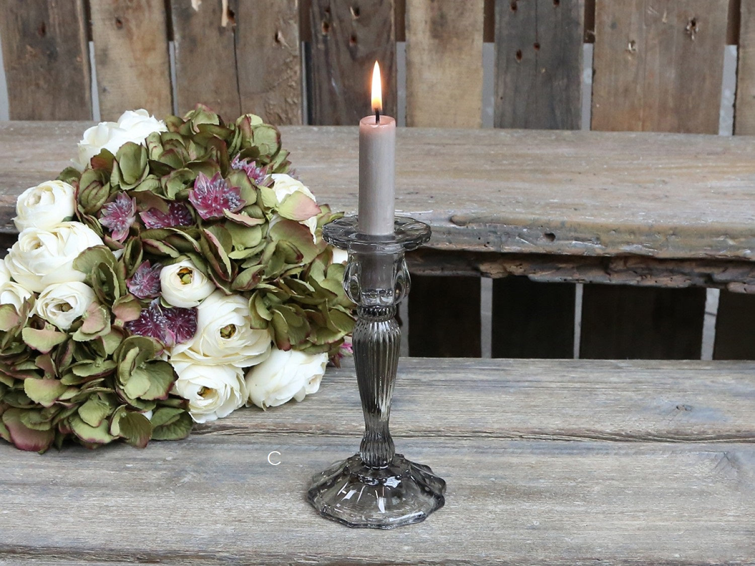 Grey Glass Candle Stick -4 Options