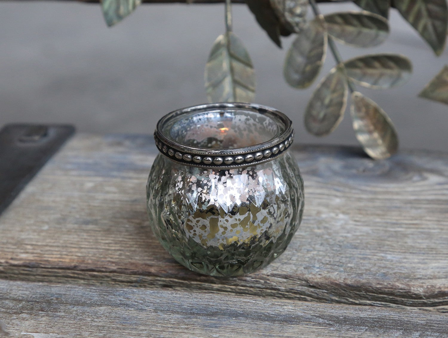 Antique silver tealight holder