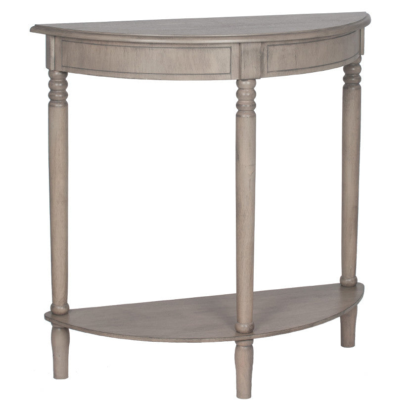Taupe Pine Wood Half Moon Console
