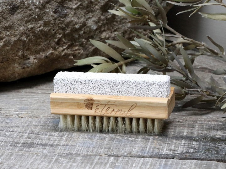 Nail brush with pumice stone