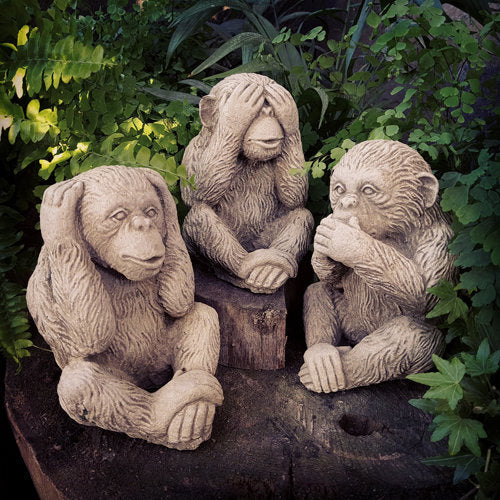 Set of 3 Stone Monkeys