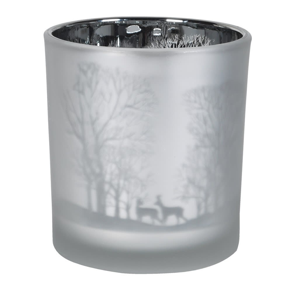 Frosted Deer & Forest tealight holder