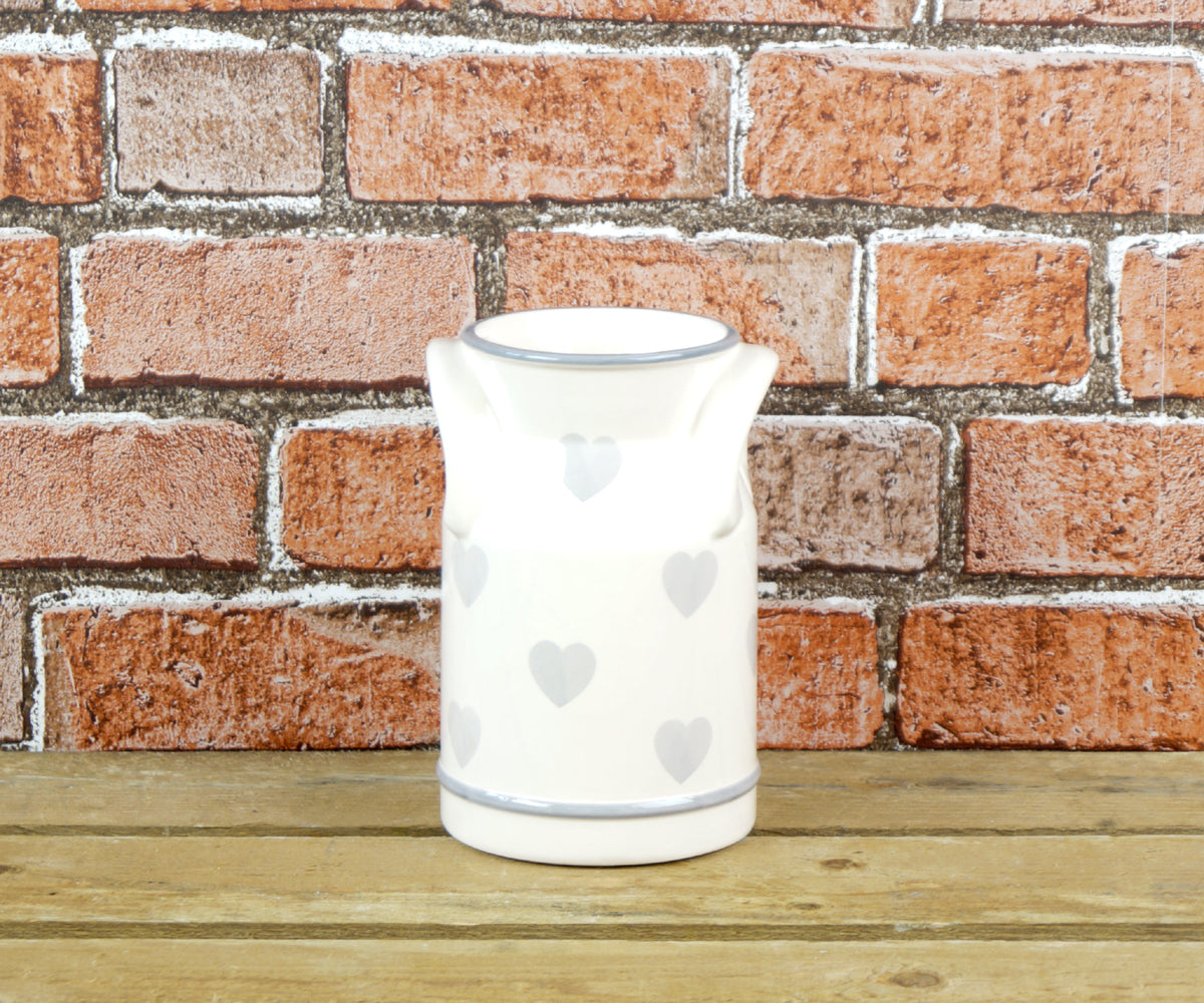 Grey heart ceramic churn
