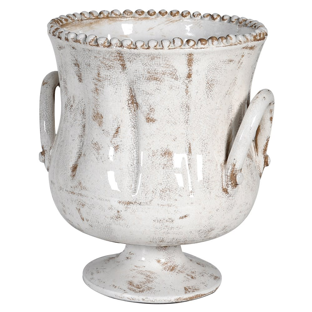 Distressed white ceramic planter