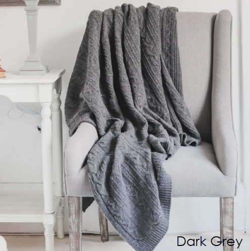 Dark Grey Cable Throw *Last One*