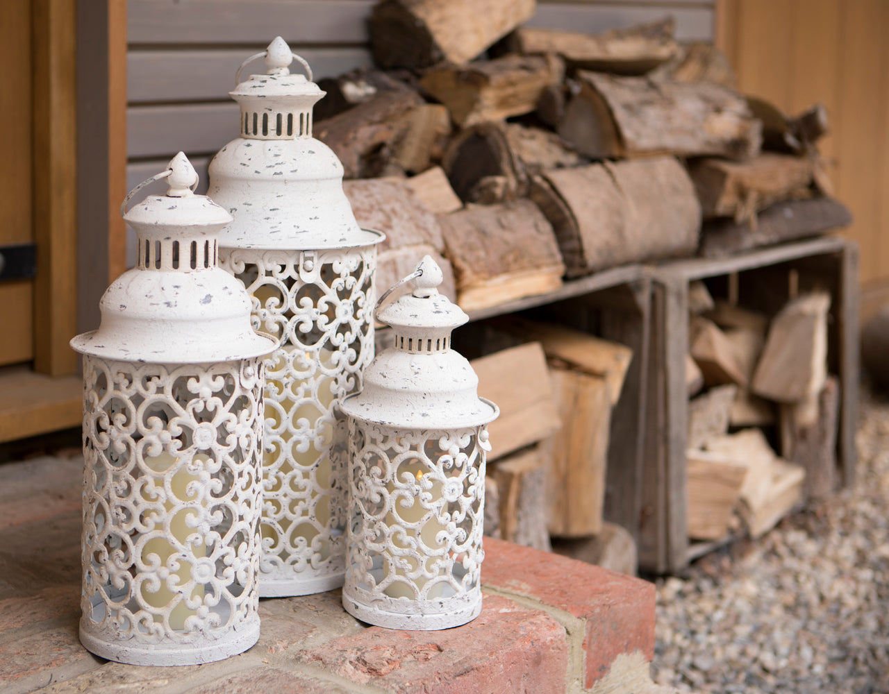 White Cut Out Lanterns