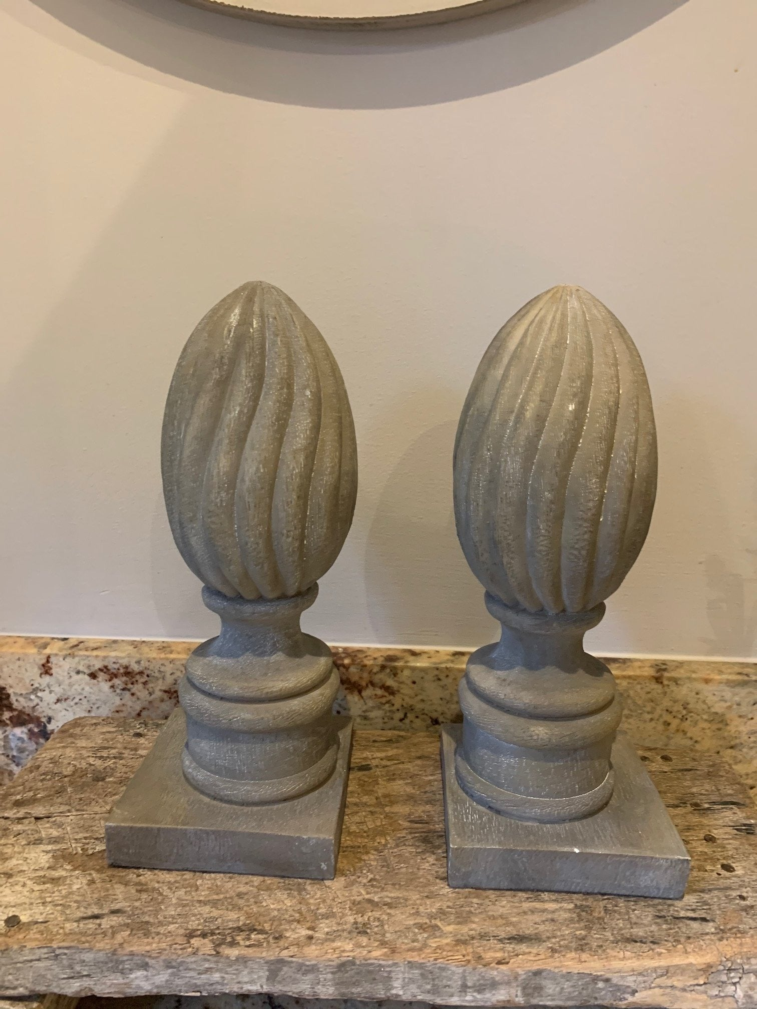 Pair of grey Finial decorations