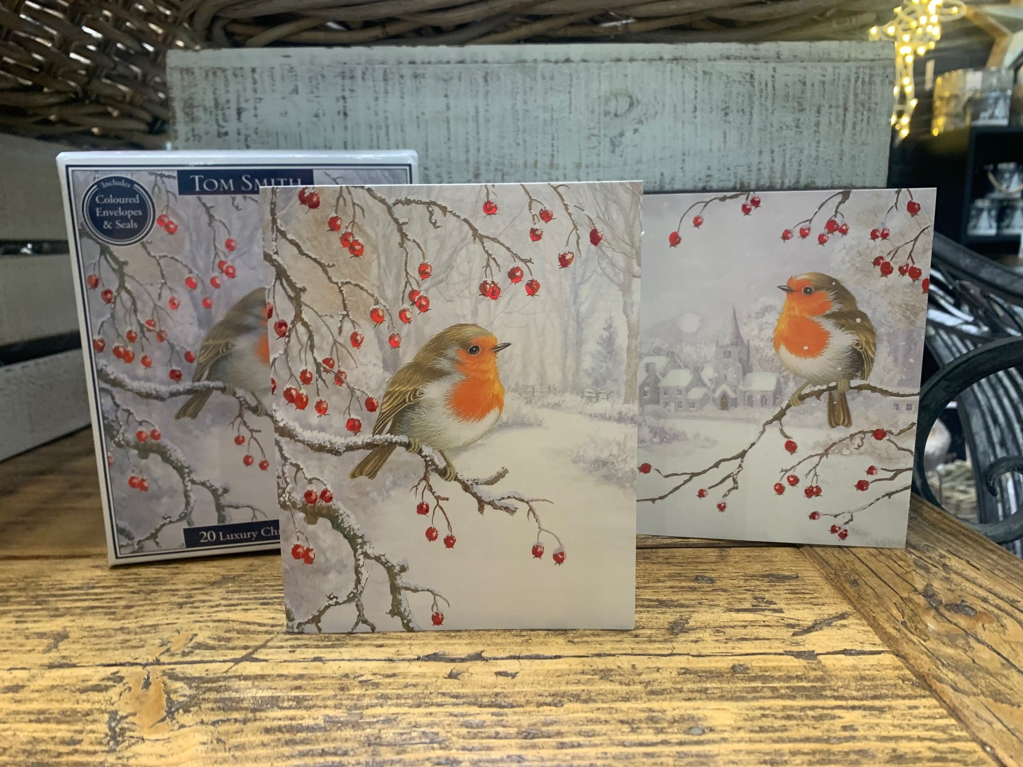 Pack of 20 Tom Smith Christmas Cards - Robin