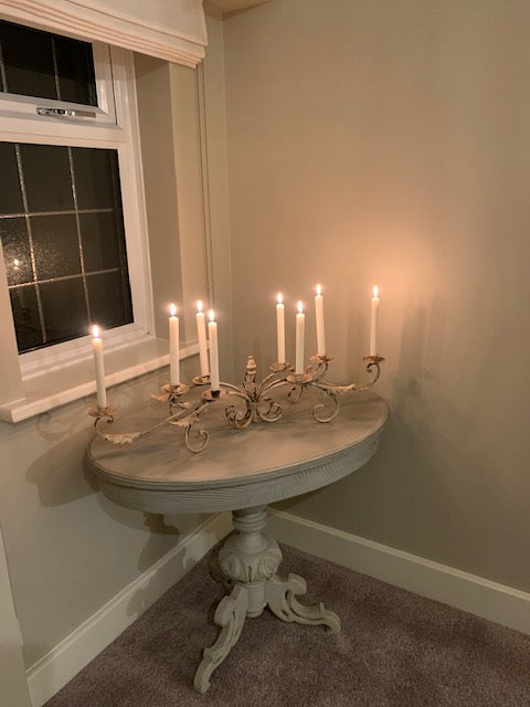 Beautiful distressed 8 arm candelabra *EARLY DECEMBER DELIVERY*